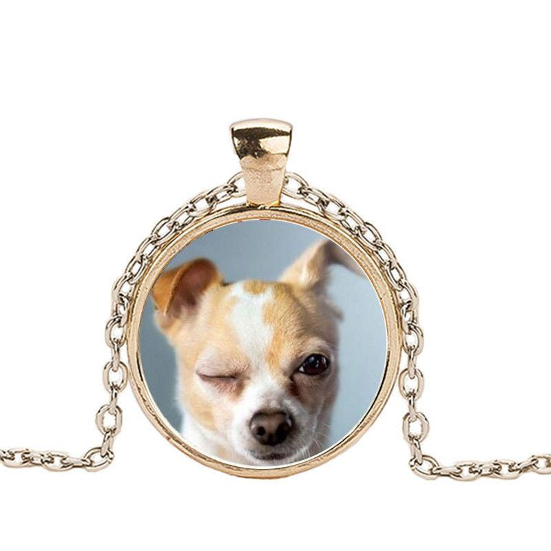 Chihuahua in a Crystal Dome Fashion Pendant Necklace-Themed Gifts-gold 2-Pets Hub Home