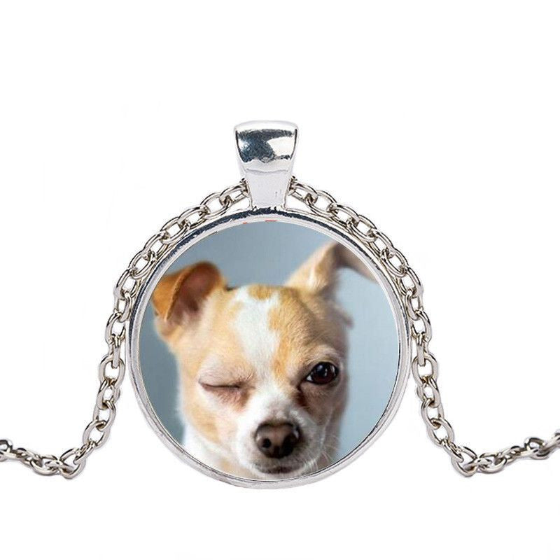 Chihuahua in a Crystal Dome Fashion Pendant Necklace-Themed Gifts-silver 2-Pets Hub Home