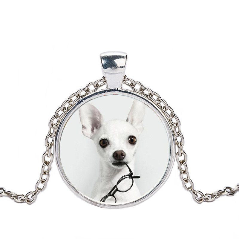 Chihuahua in a Crystal Dome Fashion Pendant Necklace-Themed Gifts-silver 3-Pets Hub Home