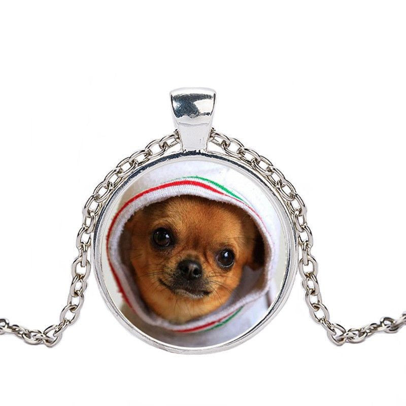 Chihuahua in a Crystal Dome Fashion Pendant Necklace-Themed Gifts-silver 4-Pets Hub Home
