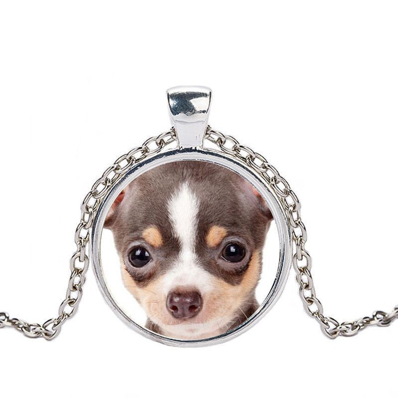 Chihuahua in a Crystal Dome Fashion Pendant Necklace-Themed Gifts-silver 6-Pets Hub Home