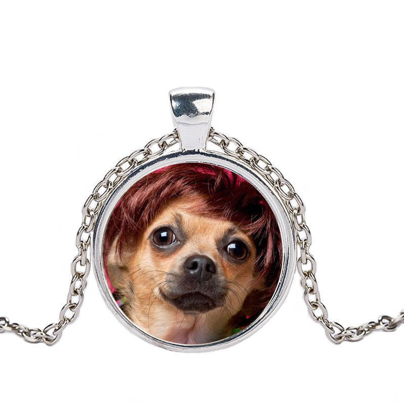 Chihuahua in a Crystal Dome Fashion Pendant Necklace-Themed Gifts-silver 7-Pets Hub Home