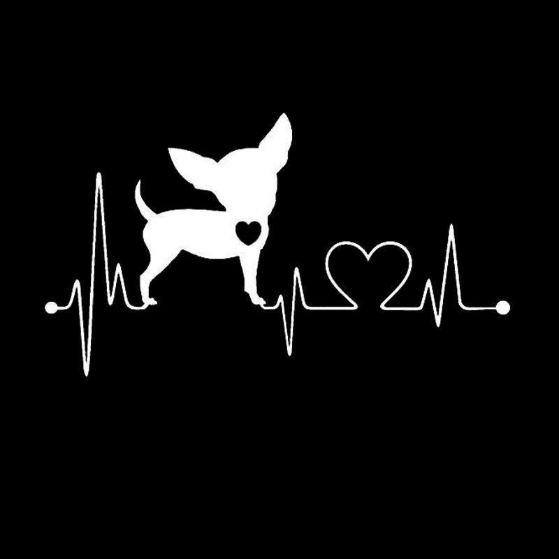 Chihuahua - My Heartline - Heartbeat Style Decal Stickers-Themed Gifts-Black-Pets Hub Home