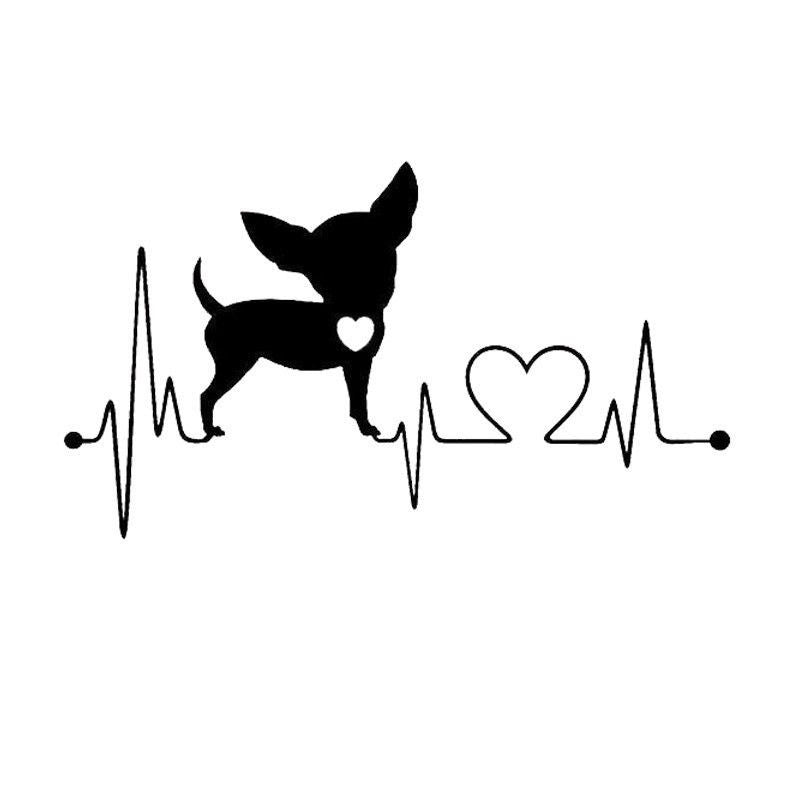 Chihuahua - My Heartline - Heartbeat Style Decal Stickers-Themed Gifts-Silver-Pets Hub Home