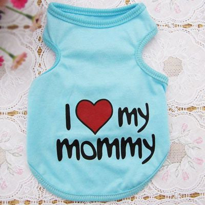 Cotton Puppy/Dog Summer Vest T-shirt - I Love My Mommy/Daddy-Apparel-Blue-S-Pets Hub Home