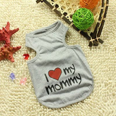 Cotton Puppy/Dog Summer Vest T-shirt - I Love My Mommy/Daddy-Apparel-Gray-S-Pets Hub Home