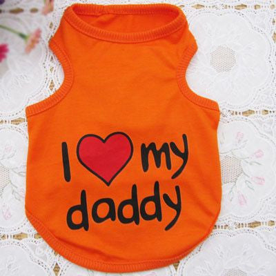 Cotton Puppy/Dog Summer Vest T-shirt - I Love My Mommy/Daddy-Apparel-Orange-S-Pets Hub Home