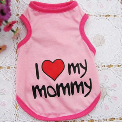 Cotton Puppy/Dog Summer Vest T-shirt - I Love My Mommy/Daddy-Apparel-Pink-S-Pets Hub Home