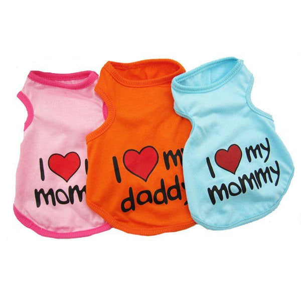 Cotton Puppy/Dog Summer Vest T-shirt - I Love My Mommy/Daddy-Apparel-Pets Hub Home