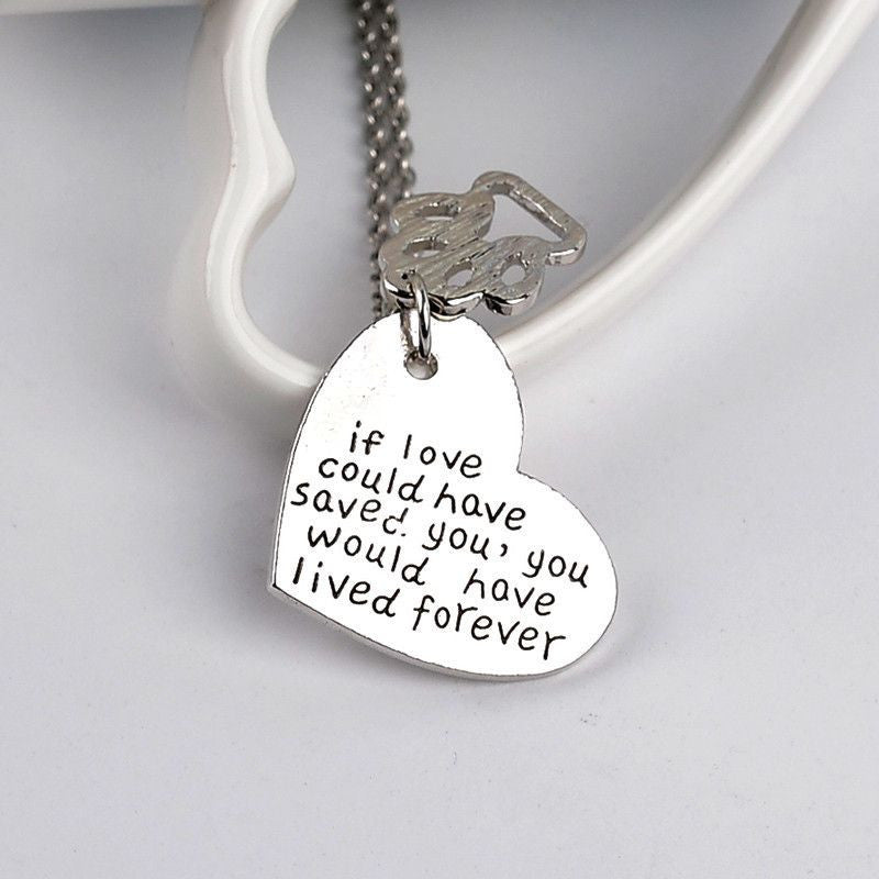 Dog Memorial Necklace Pendant - if love could have saved you, you would have lived forever-Themed Gifts-Pets Hub Home