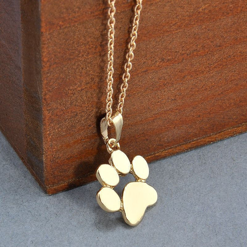 Dog Paw Footprint Fashion Pendant Necklace-Themed Gifts-14K Gold Plated-45cm-Pets Hub Home