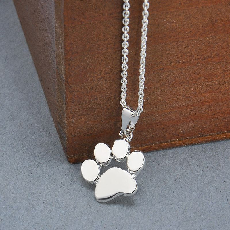 Dog Paw Footprint Fashion Pendant Necklace-Themed Gifts-Silver Plated-45cm-Pets Hub Home