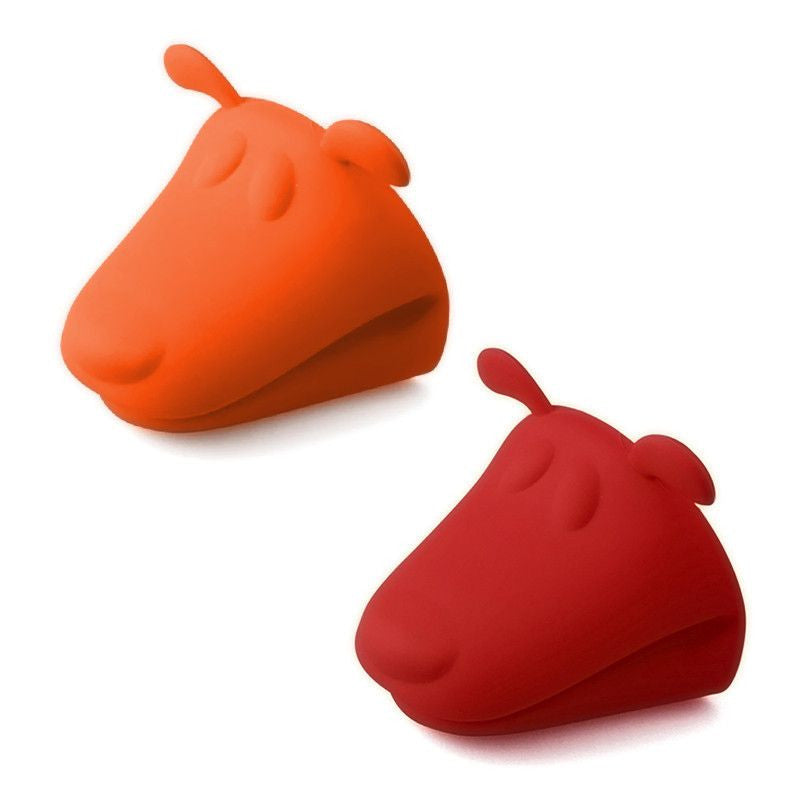 Dog Shaped Heat Resistant Silicone Kitchen Glove - 2 Pack-Themed Gifts-1 Red - 1 Orange-Pets Hub Home