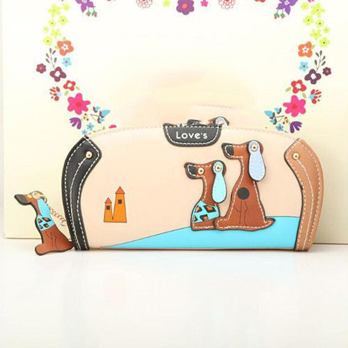 Fashion Wallet Clutch With Dog Print Designs-Themed Gifts-Cream-Pets Hub Home
