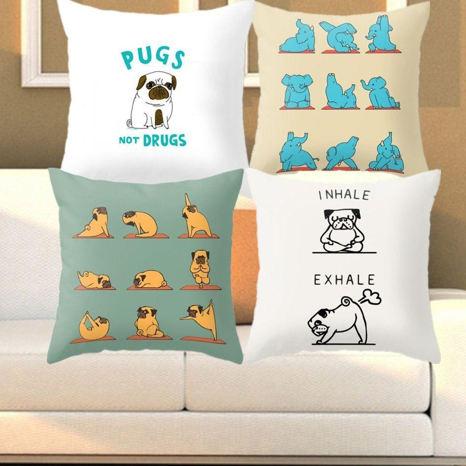 Funny Cushion Cover - Yoga Poses - Decorative - Dog/Pug/Elephant-Themed Gifts-Pets Hub Home