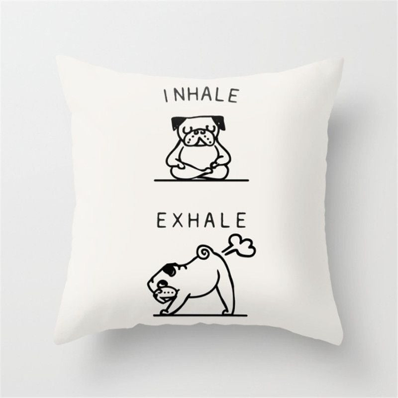 Funny Cushion Cover - Yoga Poses - Decorative - Dog/Pug/Elephant-Themed Gifts-45x45cm-Funny Dog-Pets Hub Home