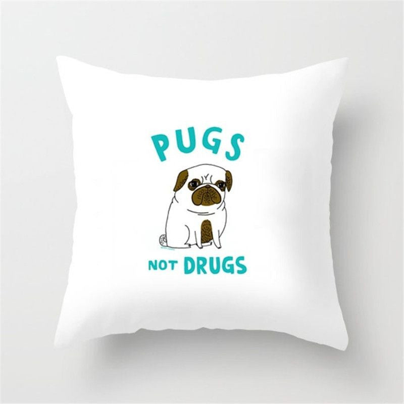 Funny Cushion Cover - Yoga Poses - Decorative - Dog/Pug/Elephant-Themed Gifts-45x45cm-Pug-Pets Hub Home
