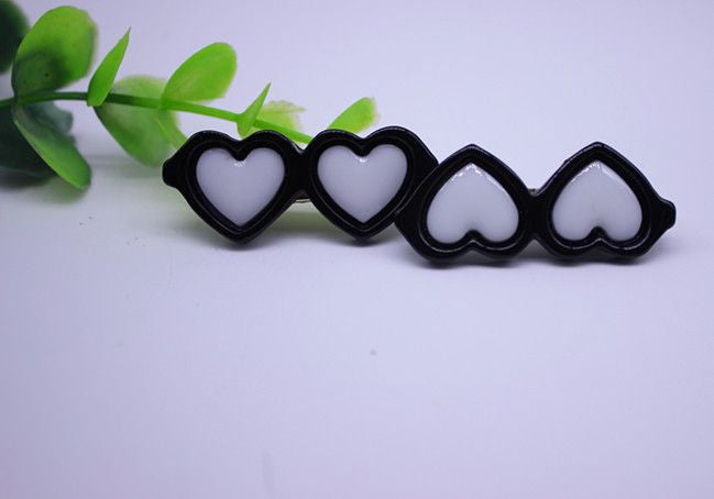 Heart Shaped Glasses Hair Clips - 2 Pcs-Accessories-Black-Pets Hub Home