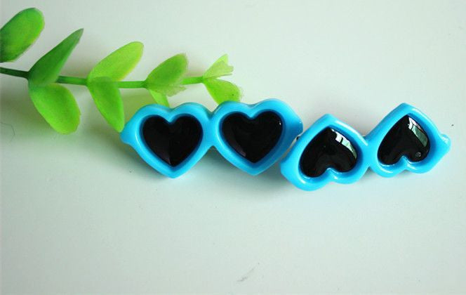 Heart Shaped Glasses Hair Clips - 2 Pcs-Accessories-Blue-Pets Hub Home