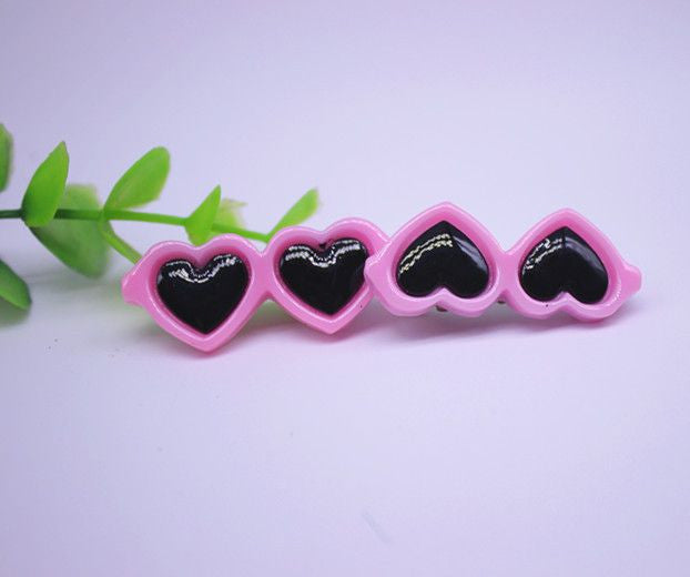 Heart Shaped Glasses Hair Clips - 2 Pcs-Accessories-Pink-Pets Hub Home