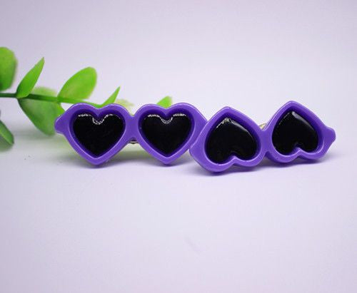 Heart Shaped Glasses Hair Clips - 2 Pcs-Accessories-Purper-Pets Hub Home