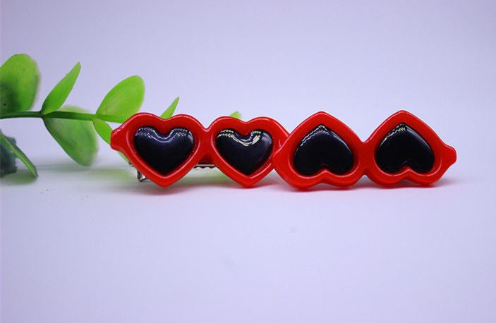 Heart Shaped Glasses Hair Clips - 2 Pcs-Accessories-Red-Pets Hub Home