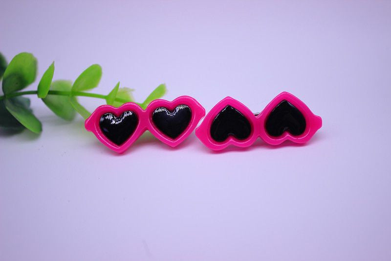 Heart Shaped Glasses Hair Clips - 2 Pcs-Accessories-Rosepink-Pets Hub Home