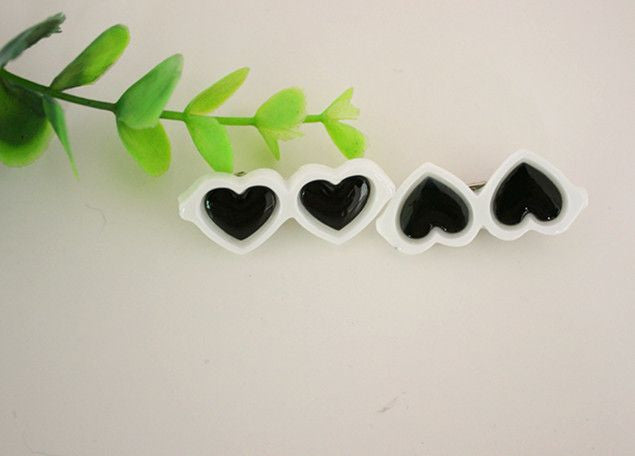 Heart Shaped Glasses Hair Clips - 2 Pcs-Accessories-White-Pets Hub Home