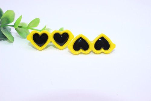 Heart Shaped Glasses Hair Clips - 2 Pcs-Accessories-Yellow-Pets Hub Home