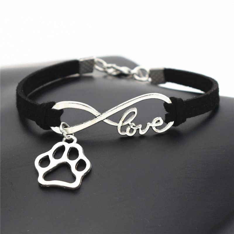 Infinity Love Paw Print Charm Bracelet-Themed Gifts-Black-Pets Hub Home