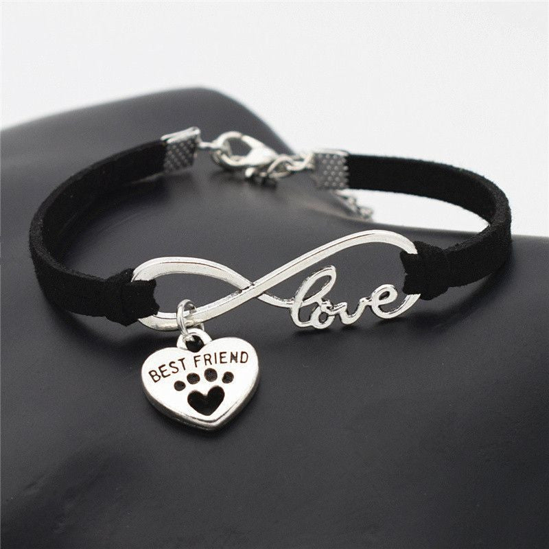 Infinity Love Paw Print Charm Bracelet-Themed Gifts-Black 2-Pets Hub Home
