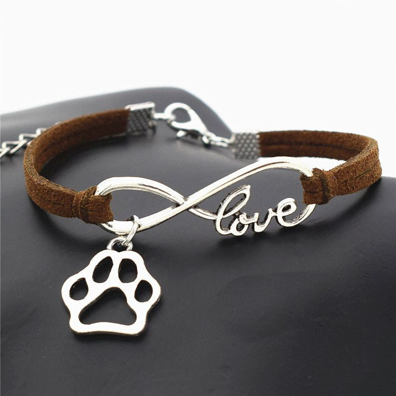 Infinity Love Paw Print Charm Bracelet-Themed Gifts-Dark Brown-Pets Hub Home