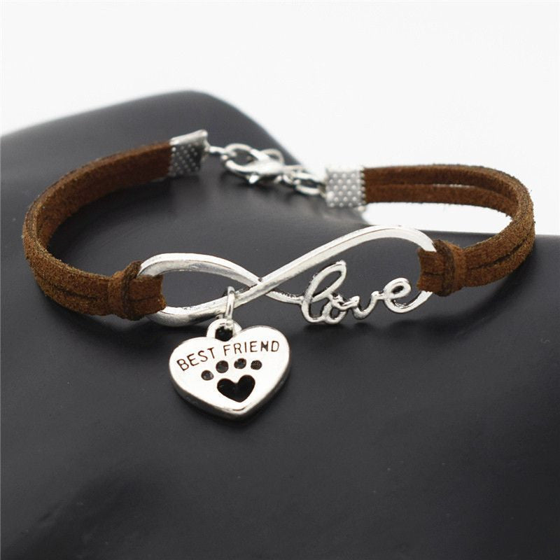 Infinity Love Paw Print Charm Bracelet-Themed Gifts-Dark Brown 2-Pets Hub Home