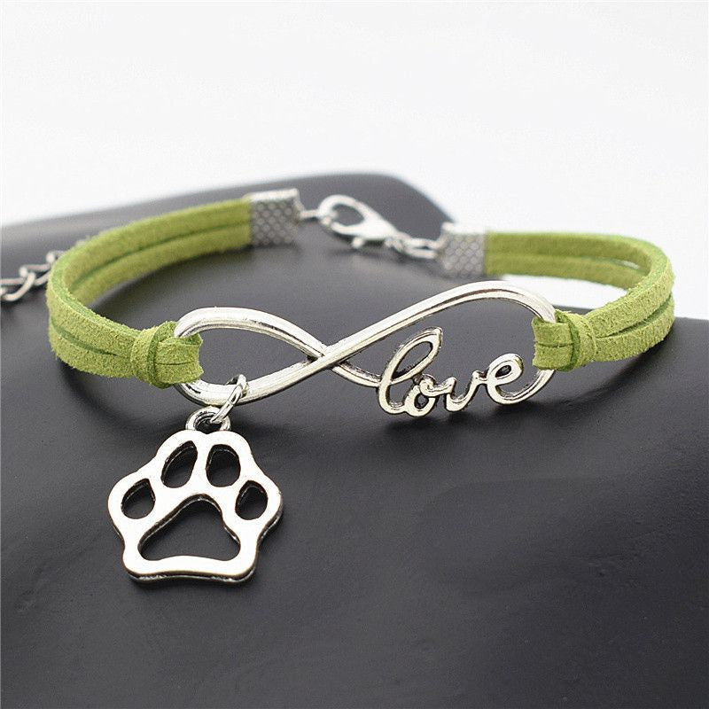 Infinity Love Paw Print Charm Bracelet-Themed Gifts-Green-Pets Hub Home