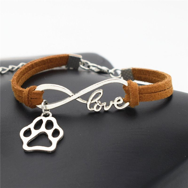 Infinity Love Paw Print Charm Bracelet-Themed Gifts-Light Brown-Pets Hub Home