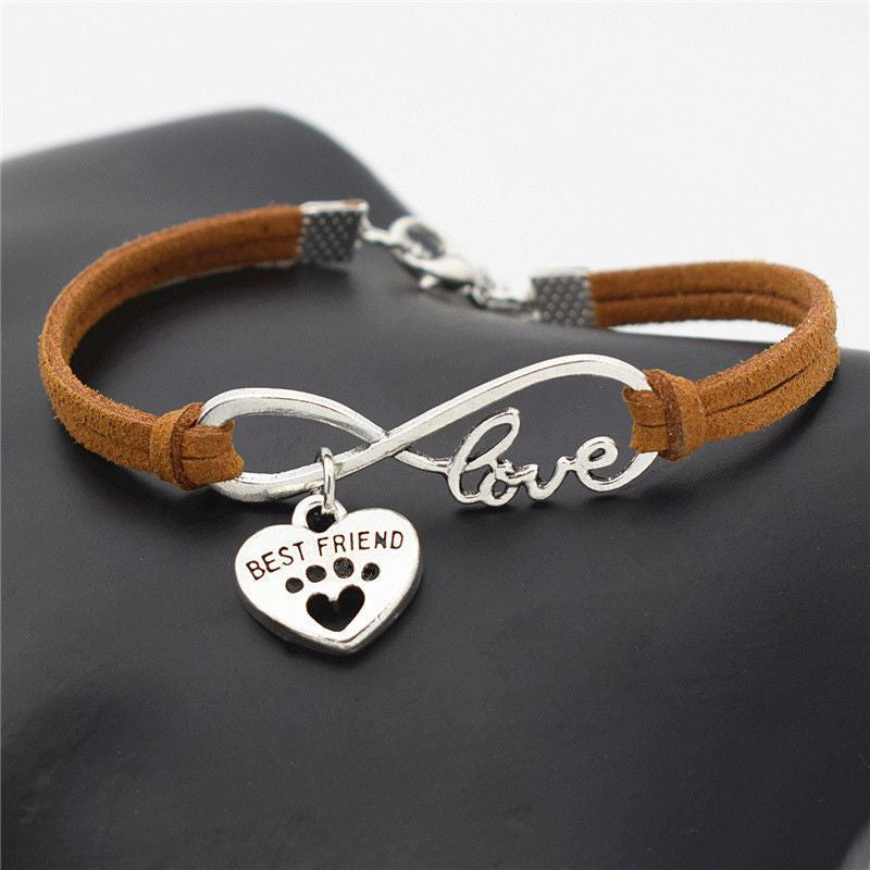 Infinity Love Paw Print Charm Bracelet-Themed Gifts-Light Brown 2-Pets Hub Home