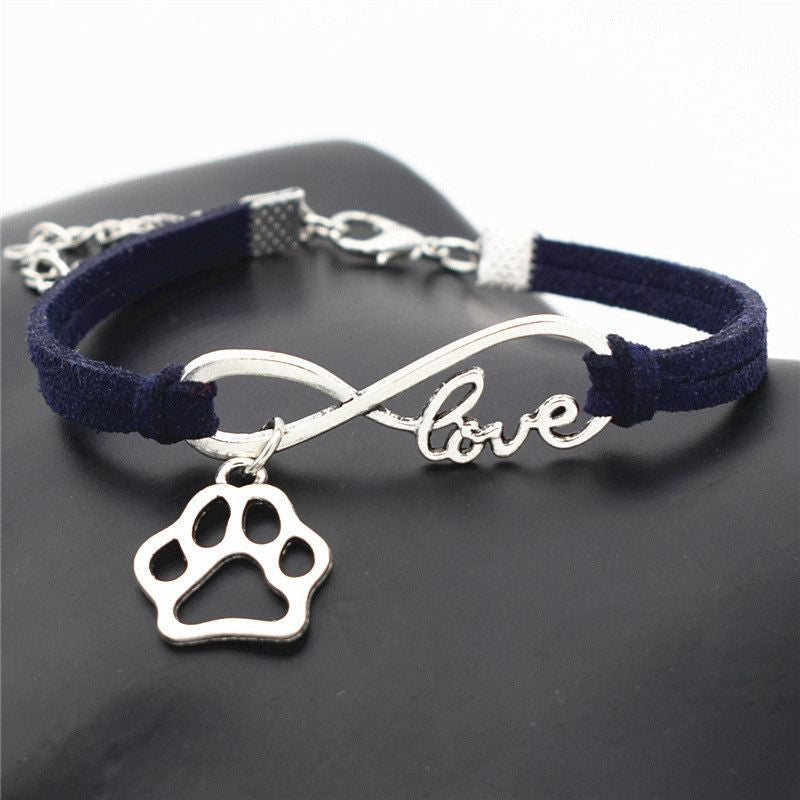 Infinity Love Paw Print Charm Bracelet-Themed Gifts-Navy Blue-Pets Hub Home