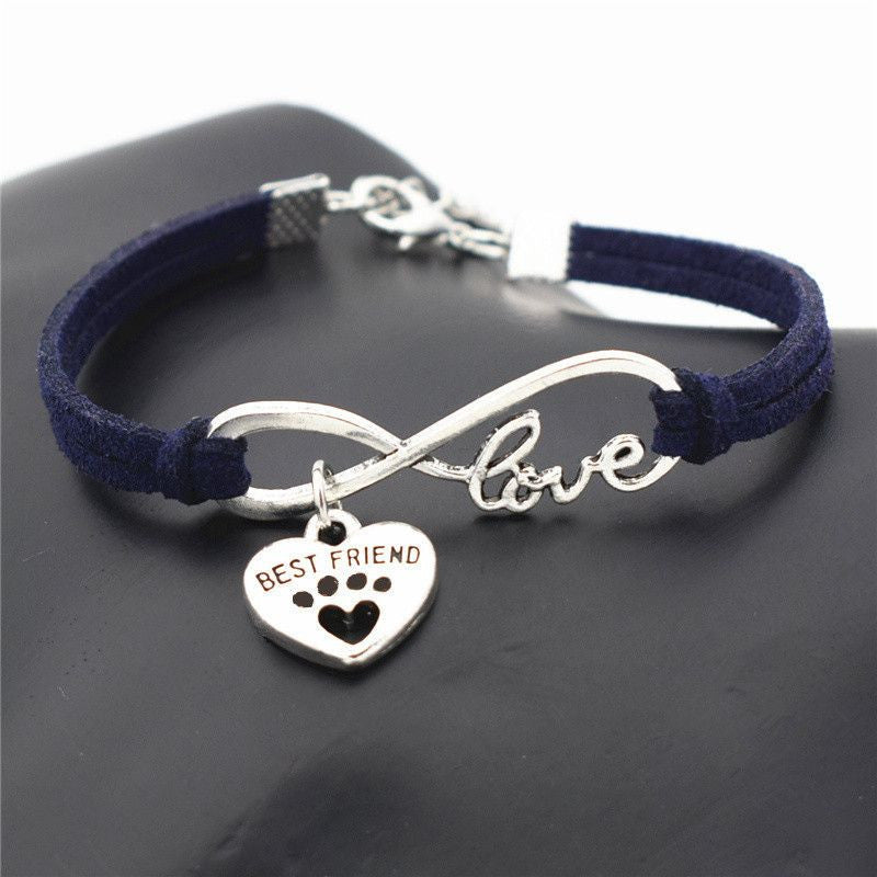 Infinity Love Paw Print Charm Bracelet-Themed Gifts-Navy Blue 2-Pets Hub Home