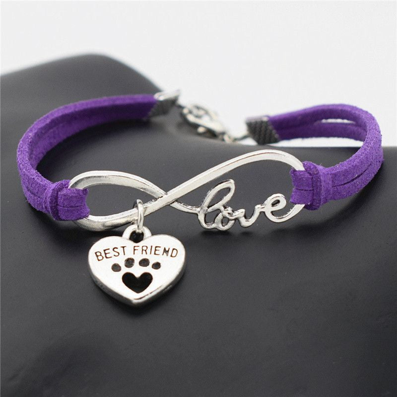Infinity Love Paw Print Charm Bracelet-Themed Gifts-Purple 2-Pets Hub Home