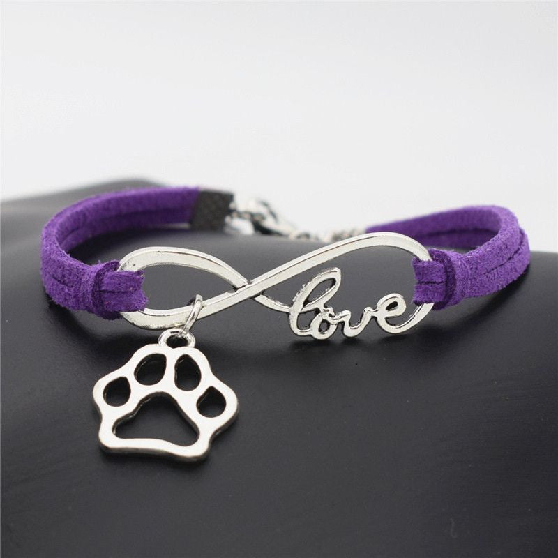Infinity Love Paw Print Charm Bracelet-Themed Gifts-Purple-Pets Hub Home