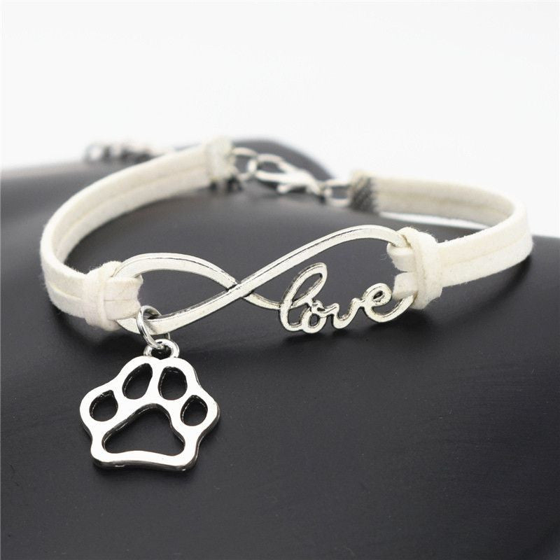 Infinity Love Paw Print Charm Bracelet-Themed Gifts-White-Pets Hub Home