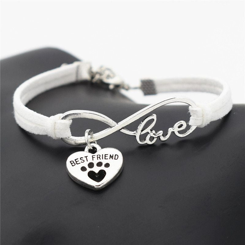 Infinity Love Paw Print Charm Bracelet-Themed Gifts-White 2-Pets Hub Home
