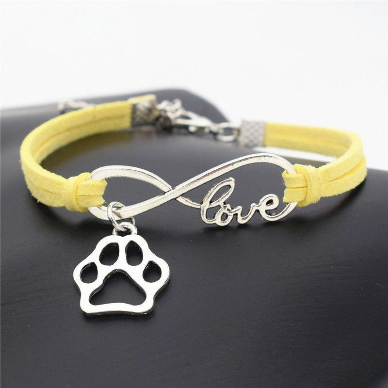 Infinity Love Paw Print Charm Bracelet-Themed Gifts-Yellow-Pets Hub Home