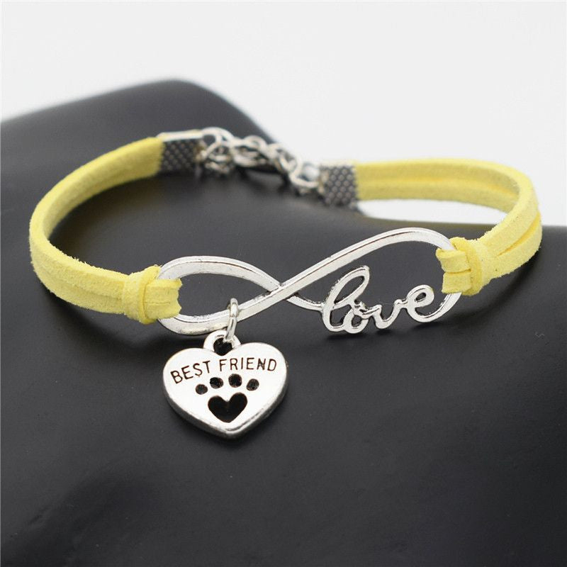 Infinity Love Paw Print Charm Bracelet-Themed Gifts-Yellow 2-Pets Hub Home