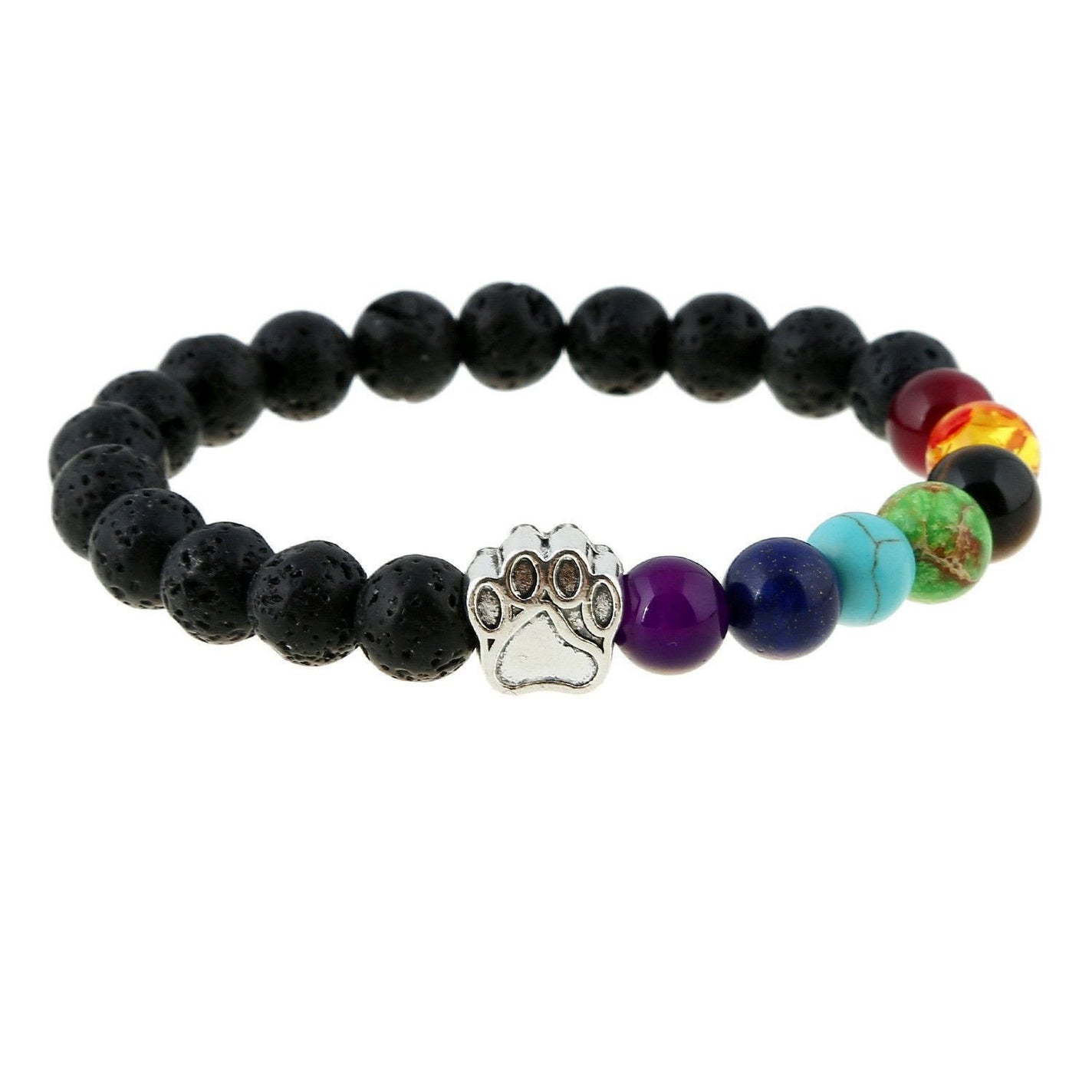 Natural Stone Bead 7 Chakra Healing Balance Bracelet with Dog Paw-Themed Gifts-Pets Hub Home