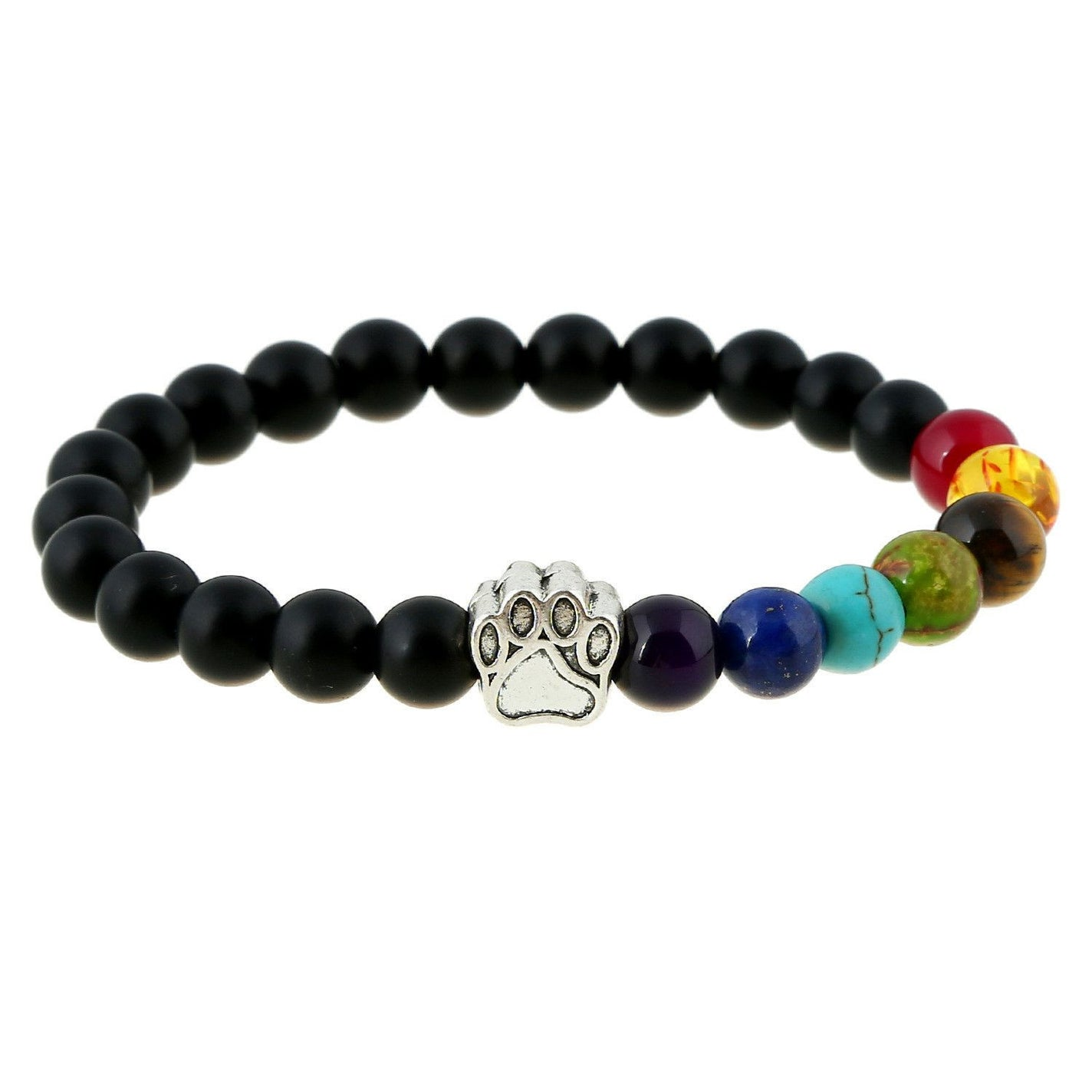 Natural Stone Bead 7 Chakra Healing Balance Bracelet with Dog Paw-Themed Gifts-ASLBL-Pets Hub Home
