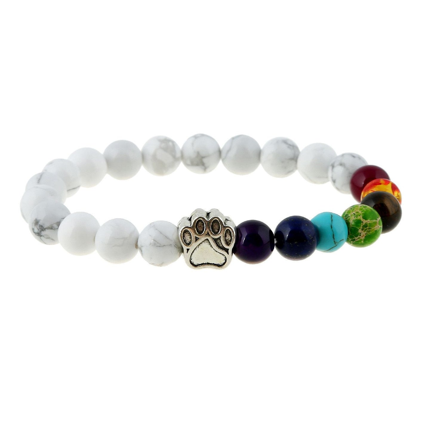 Natural Stone Bead 7 Chakra Healing Balance Bracelet with Dog Paw-Themed Gifts-ASWH-Pets Hub Home