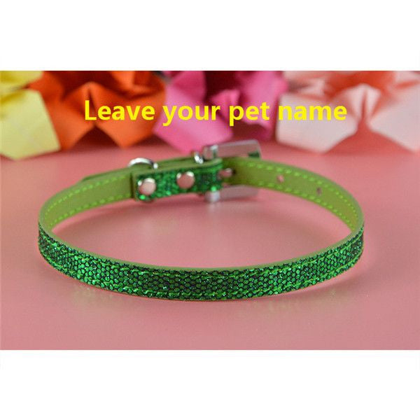 Personalized Bling charm Dog/Puppy Collar-Accessories-Green-Neck 16 to 21 cm-Pets Hub Home