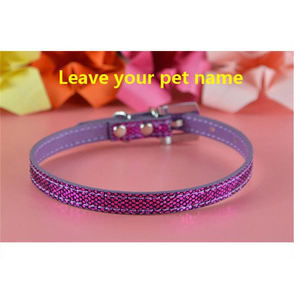 Personalized Bling charm Dog/Puppy Collar-Accessories-Purple-Neck 16 to 21 cm-Pets Hub Home