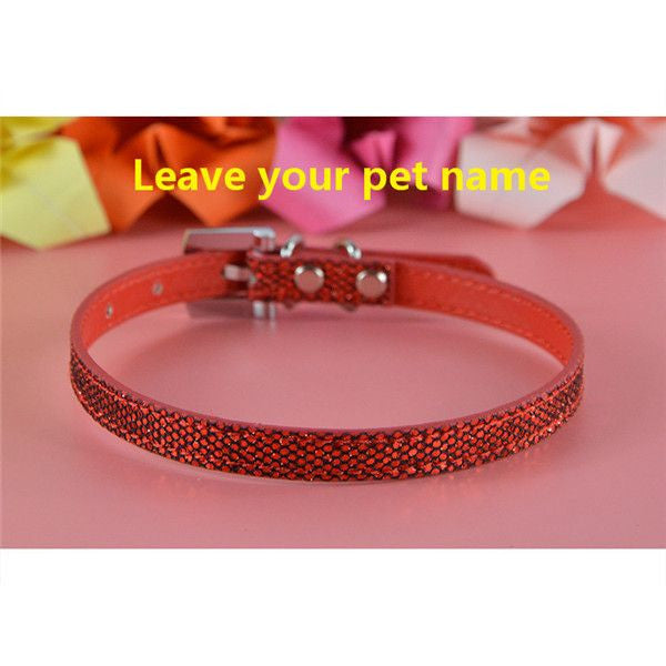 Personalized Bling charm Dog/Puppy Collar-Accessories-Red-Neck 16 to 21 cm-Pets Hub Home